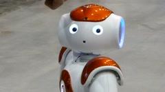 Humanoid autonomous robot look Stock Footage