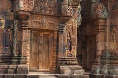 carvings of  Banteay Srei - stock photo