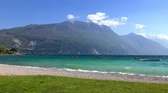 Beach in Torbole, Lake Garda, Italy Stock Footage