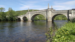 General Wade's Bridge over River Tay at Aberfeldy Scotland Stock Footage