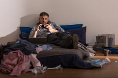 Stock Photo of Bachelor and his mess