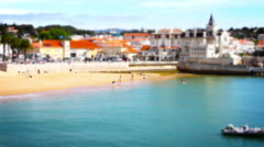 Beach and People, Tile Shift, Cascais, Lisbon, Portugal Stock Footage
