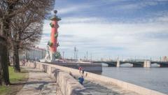 Vasilievsky island in Saint Petersburg motion timelapse 4K Stock Footage