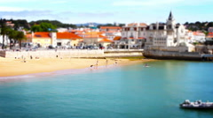 Beach and People, Tile Shift, Time Lapse, Cascais, Lisbon, Portugal Stock Footage
