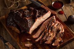 Homemade Smoked Barbecue Beef Brisket Stock Photos