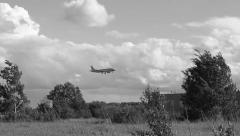 Landing black and white Stock Footage