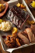 Barbecue Smoked Brisket and Ribs Platter - stock photo