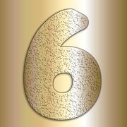 Stock Illustration of Vector metalic gold digits with grain texture, digit 6