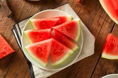 Organic Ripe Seedless Watermelon - stock photo