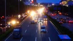 Xixiang Shenzhen 107 National Road at night traffic landscape Stock Footage
