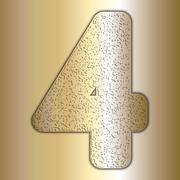 Stock Illustration of Vector metalic gold digits with grain texture, digit 4