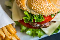 Homemade Hamburger with Fresh Vegetables and French Fries - stock photo