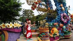Carnival Films Disney characters on Main Street USA, Disneyland Hong Kong Stock Footage