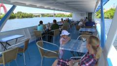 People float on a pleasure river boat and turn around - stock footage