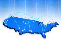 American network connections 3D map - stock illustration