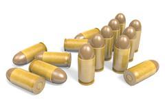 Pistol .45 caliber bullets rendered in 3D Stock Illustration