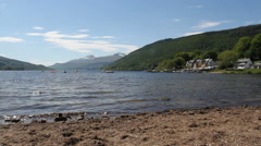 Kenmore and shore of Loch Tay Scotland Stock Footage