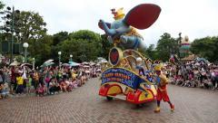 Stock Video Footage of Representation of Disney characters on Main Street USA, Disneyland Hong Kong