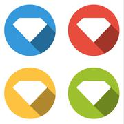 Collection of 4 isolated flat buttons for crystal (gem, diamond) Stock Illustration