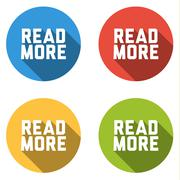Collection of 4 isolated flat buttons for READ MORE - stock illustration