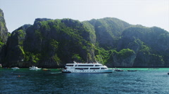 Tourist Ferry Boat passing at Phi Phi Don Stock Footage