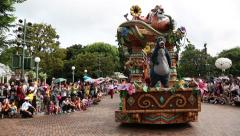 Carnival cartoon characters of Disney on Main Street USA, Disneyland Hong Kong Stock Footage