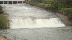 Water discharge from the city dam Stock Footage