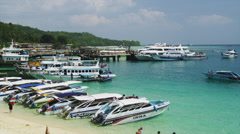 Boats at the Beach of Ton Sai Bay of Phi Phi Don Stock Footage
