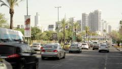TEL AVIV, ISRAEL - 25 April, 2015: Traffic near city center in Tel Aviv, Israel. - stock footage