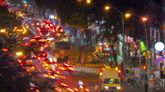 Street traffic at night in New York City, time lapse - stock footage