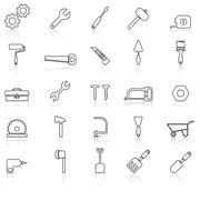 Tool line icons with reflect on white Stock Illustration