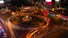Ho Chi Minh City - April 2015: Aerial view of roundabout with long shutter speed Stock Footage