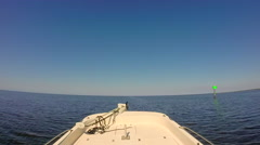 Flats boat motoring thru Gulf of Mexico in Steinhatchee, Florida - stock footage