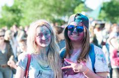 Orenburg, Russia - 13 June 2015: Young people at the Festival of paint holi Stock Photos