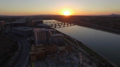Aerial over Buildings Tempe Town Lake during Sunset Stock Footage