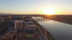 Tempe Town Lake Aerial over Buildings Stock Footage