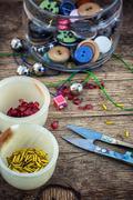 set for needlework beaded - stock photo
