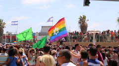 The 2015 Gay and transgender pride parade in Tel-Aviv - stock footage