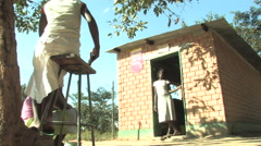 Hanging Out in a Brick Hut in Kitwe, Zambia Stock Footage