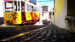 Tram Lisbon, Tile Shift, Posterized Time, Portugal Stock Footage
