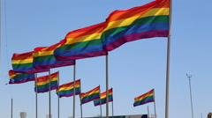 Rainbow Gay Symbol Flags In The Wind Stock Footage