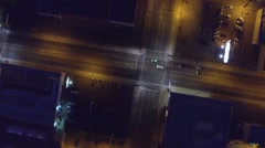 Aerial shot of Intersection with Traffic at Night Stock Footage