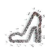 People in the shape of shoes Stock Illustration