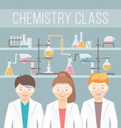 Kids in chemistry class flat education concept Stock Illustration