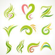 Vector  icons, set of decorative wavy shapes - stock illustration