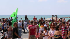 Mass of people during Gay and transgender pride parade in Tel-Aviv Stock Footage