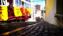 Tram Lisbon, Tile Shift, Portugal Stock Footage