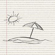 illustration of the sun and a parasol - stock illustration