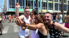 Happy people at the gay pride parade with audio - stock footage