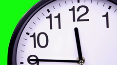 Wall clock on a green 00:00 TimeLapse Stock Footage